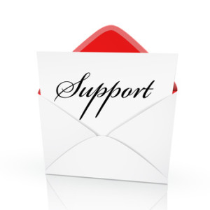 the word support on a card